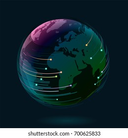 Earth and abstract lines, travel or internet connectivity, eps10 vector