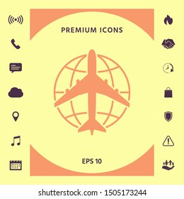 Earth and Airplane logo. Graphic elements for your design