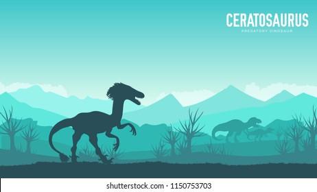 Earth BC landscape scene illustration. Before our era earth design. Silhouette Dinosaur ceratosaurus in its habitat background. Jungle prehistoric creature in nature