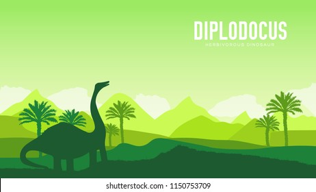 Earth BC landscape scene illustration. Before our era earth design. Dinosaur Diplodocus in its habitat background. Jungle prehistoric creature in nature