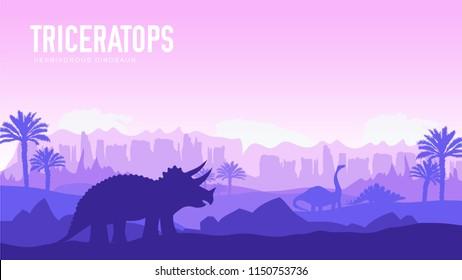 Earth BC landscape scene illustration. Before our era earth design. Dinosaur triceratop in its habitat background. Jungle prehistoric creature in nature