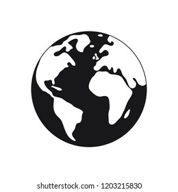 earth black and white symbol on the white background