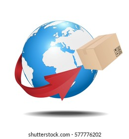 Earth with cardboard box and arrow. Shipment concept.