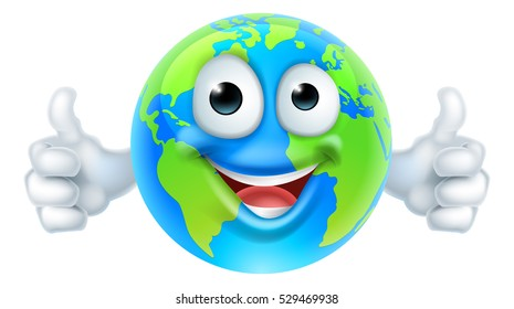 An earth cartoon character earth day mascot thumbs up globe