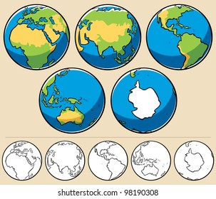Earth: Cartoon illustration of planet Earth viewed from 5 different angles. Below are the same globes uncolored.