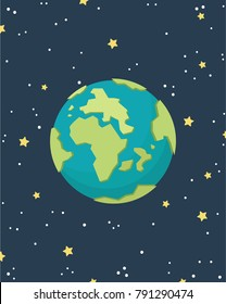 Earth cartoon vector. free space for text. wallpaper. background. star pattern vector.
