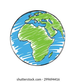 earth cartoon vector, hand drawn sketch world