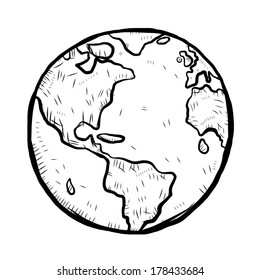 earth / cartoon vector and illustration, black and white, hand drawn, sketch style, isolated on white background.