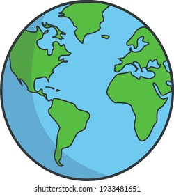 Earth cartoons for the continents of America and Africa are suitable for children's book covers and education