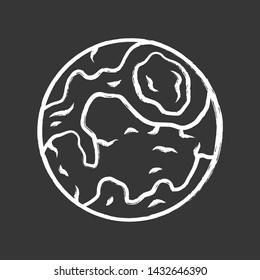 Earth chalk icon. Globe, planet model. Astronomical studies. Space trip. Celestial objects observation. Solar System body. Astronomy, astrophysics. Isolated vector chalkboard illustration