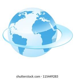 earth and circulating belt - vector illustration
