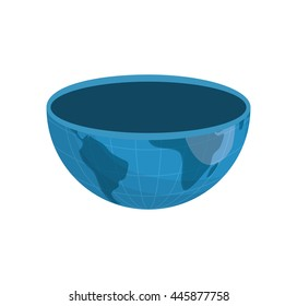 Earth concept represented by haf of planet icon. isolated and flat illustration
