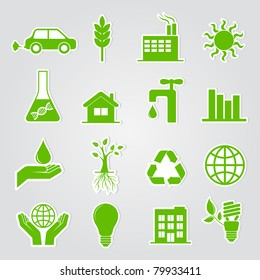Earth conservation and ecology icon set