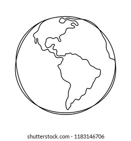 Earth continuous line illustration