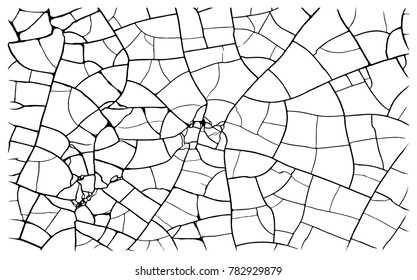 Earth cracks or stone on white background. Concrete wall texture design in grunge with polygon rock style. Clay lines cracking. Bare tree branches