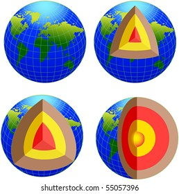 Earth cross section - vector
