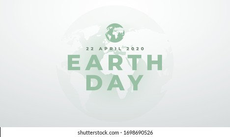 earth day 22 april 2020 modern banner, concept with green text on a light clean background.
