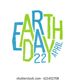Earth day, 22 April. Holiday logotype design.