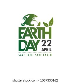 Earth Day, 22 April Text Vector Illustration - Earth Day Poster Design