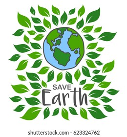 Earth day April 22 illustration. ECO logo vector