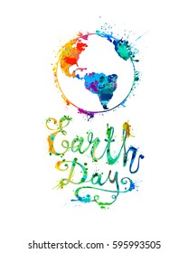 EARTH DAY. April 22. Splash paint. Hand written