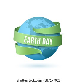 Earth day background with blue globe and green ribbon around, isolated on white background. Vector illustration.