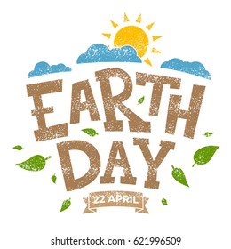 Earth day banner, 22nd April, sun with clouds and leaves, vector illustration graphic
