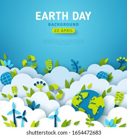 Earth Day banner or card, background with clouds and ecology icons in paper cut style. Vector illustration. Light bulbs, wind turbine and green leaves. Place for text