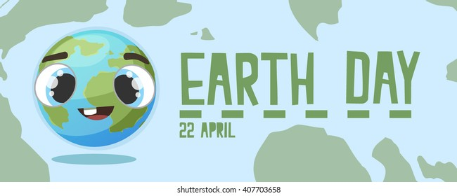 Earth day banner card. Happy funny cartoon earth with big glass eyes. Blue earth. Happy earth.