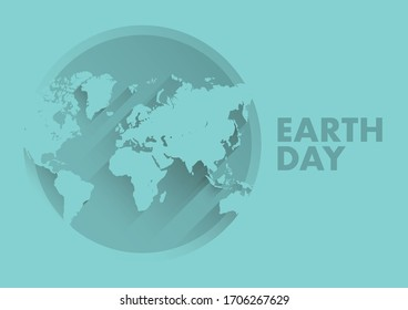 Earth day banner template, globe world symbol and text for environment safety celebration. Vector illustration