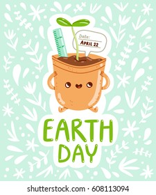 Earth day card vector illustration