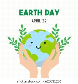 Earth Day Cartoon Card, Earth Day Vector illustration.