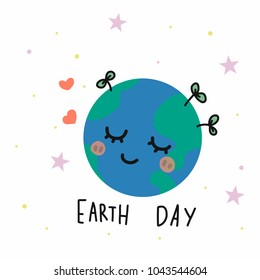 Earth day cartoon vector illustration doodle style