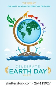 Earth Day Celebration Poster Design Template with Animals Roaming Around a Globe themed Tree. Also are Renewable Energy and Ocean icons and Sample Texts. Editable EPS10 vector and large jpg.