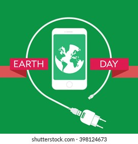 Earth Day Celebration Poster Design Template with modern mobile phone, charger cable, power supply unit and an illustration of the earth.