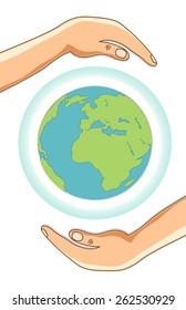 Earth Day concept card as globe with ozone layer protected with hands