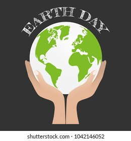 Earth day concept. Human hand holding Green Eco Earth, Vector illustration.