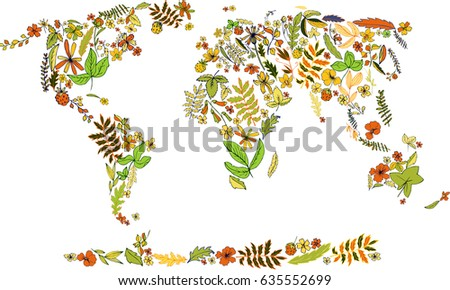 Flower Concept Map.Earth Day Concept Map World Covered Stock Vector Royalty Free