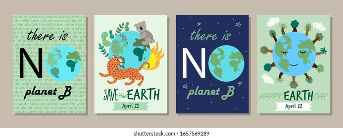 Earth Day concept posters with hand drawn Planet Earth and motivational text There is no planet B, vector illustration