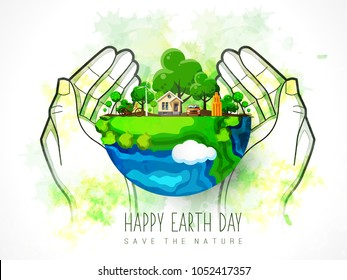 Earth Day. Eco friendly concept. Vector illustration. Earth day concept. World environment day background. Save the earth. Happy Earth Day Poster or Banner Background.