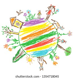 Earth day eco friendly concept. Like child`s hand drawn doodle colorful vector art. World ecology globe planet. Save nature. Crayon, pencil, chalk stroke art. Green day. Home, tree, kid, animal around
