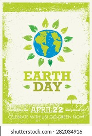 Earth Day Eco Poster Vector Concept On Organic Background. Hand Drawn Globe Surrounded By Green Leaves Banner.