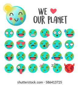 Earth day emoji, smile icons vector set.