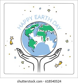 Earth day, globe illustration vector concept. April 22 world environment background, poster.