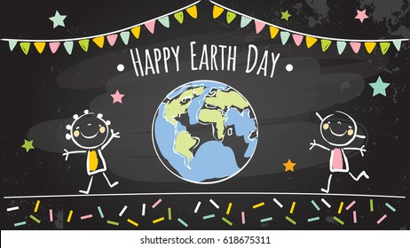 Earth day, globe illustration vector concept, with kids. Chalk on blackboard drawing, April 22 world environment background, poster.