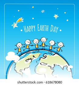 Earth day, globe illustration vector concept, with kids. April 22 world environment background, poster.