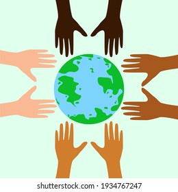 Earth day, great design for any purposes. Hands around the globe. Vector eco flyer. Eps 10