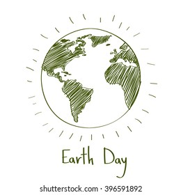 Earth Day Green Sketch Globe Ecological Protection Outline Vector Illustration