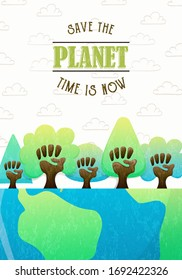 Earth day greeting card concept of human hand trees raised together for climate change fight or community nature help. Save the planet text quote illustration.