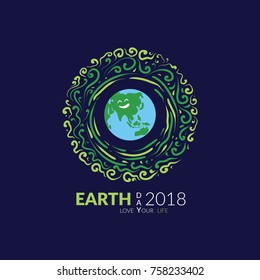Earth Day, Happy life and save your earth, love earth, vector art, grapich, green art.